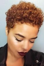 Women Short Afro Curly Wig Synthetic Brown Pixie Cut Wig Heat Safe Wig+Free Cap