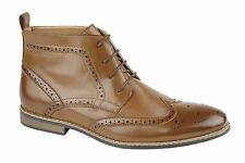 MENS FAUX LEATHER BOOTS SMART FORMAL WESTERN BROGUE COMBAT LACE ANKLE BOOTS SHOE