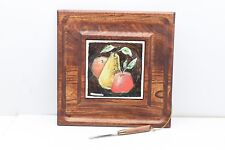 Fred Press Wooden Cheese Tray & Knife Ceramic Tile Art Work, 12�x11 3/4� Japan