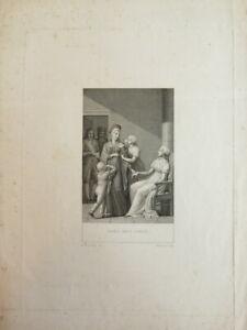 GRAVURE XIX° SCENE ADIEU MARIE ANTOINETTE  BOURBON ROYALISTE LOUIS XVI XVII