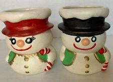 Vintage Christmas Mr and Mrs Frost The Snowman Ceramic Votive Candle H 00004000 olders