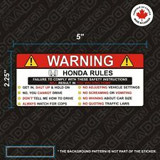 HONDA sticker Warning rules Funny vinyl decal autocollants stickers