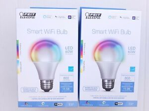 FEIT Electric Smart WiFi LED Color Changing & Dimmable A19 60W Bulb, 2-Pack
