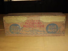 VINTAGE OLD BLUE MOON FOODS THORP WIS WOOD AMERICAN CHEESE BOX