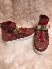 Michael Kors Gold Studded Red Suede Leather High Top Sneakers Women's Size 7M