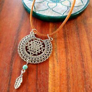 'Gypsy SriYantra Yoga' Necklace Silver Sacred Geometry Turquoise GypsyLee Jewels