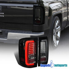 2014-2017 GMC Sierra 1500 2500HD 3500HD LED Tail Brake Lights Glossy Black Smoke