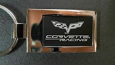 GM Chevrolet Corvette Logo Portachiavi Keyring Nero Argento RACING 44mm