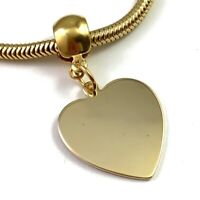 VINTAGE HEART PENDANT SNAKE CHAIN NECKLACE GOLD TONE METAL COSTUME JEWELRY