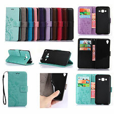 For Sony Samsung Phone Strap EmbossButterfly Leather Wallet Card Case Cover GY