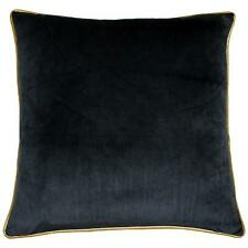 """2 X FILLED LUXURY LARGE SOFT VELVET BLACK GOLD PIPED CUSHIONS 22"""" - 55CM"""