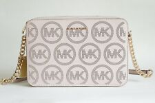NWT MICHAEL MICHAEL KORS JET SET EAST WEST PERFORATED LOGO LEATHER CROSSBODY BAG