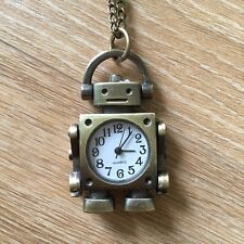 Robot Clock Necklace Watch Antique Style Bronze Pendant Vintage Retro