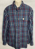CARHARTT Mens Long Sleeve Button Front Shirt Size XXL 2XL Blue Plaid 2X Pockets