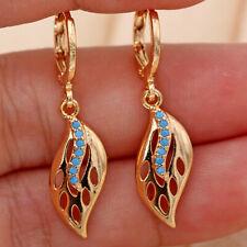 18K Gold Filled - Hollow Swirl Leaf Turquoise Topaz Hoop Gems Dangle Earrings DS