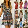 Women Ladies Sundress Swing Dresses Dress Print Summer Beach Boho UK Size 6-16