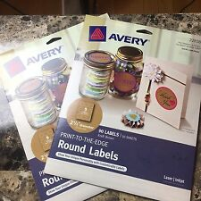 "Avery Print-to-the-Edge Round Labels, Kraft Brown, 2.5"" Diameter, (2)Packs of 90"