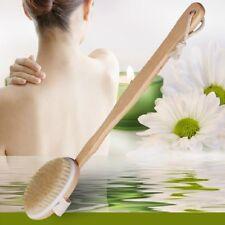 Natural Long Wood Wooden Body Brush Massager Bath Shower Back Spa Scrubber EW