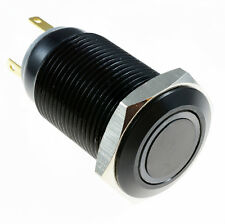Red Angel Eye LED metallo momentaneo 16mm NERO PUSH BUTTON SWITCH SPST 12V