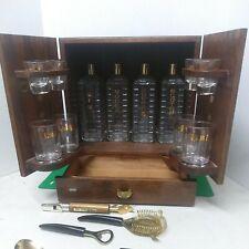 New listing Vintage Portable Traveling Wood Automatic Liquor Cabinet Bar Complete Set