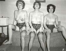 Org Vintage 1960s Nude RP- Three Women- Super Endowed Mature Woman- Garter- Legs