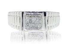 Mens 14k White Gold Princess Cut 9MM Diamond Wedding Band Engagement Ring