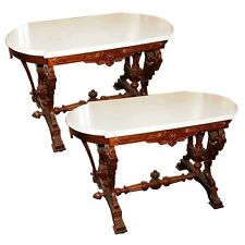 Victorian Marble Top Accent Tables #2627