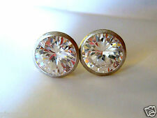 9mm Round Cubic Zirconia Stud Earrings Sterling Silver .925 Satin Finish Pierced