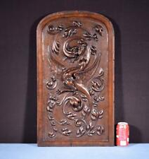 *Large French Antique Deep Carved Panel Door Solid Walnut Wood Griffin/Chimera