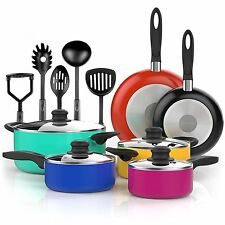 15 Pcs Nonstick Cookware Set w/ Cooking Utensils Purple Teal Red Blue Pots Pans