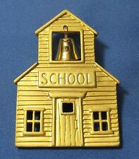 Vintage Old Fashioned School Building Bell Textured Goldtone Metal Pin Brooch