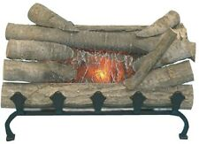 Electric Fireplace Logs Set w Cast Iron Grate Real Wood Log Crackling Fire Sound
