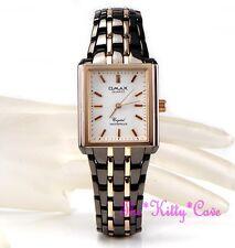 Omax Plaza 2-tone Gunmetal Bronce Brown & Rose Gold Plt Seiko Movt Reloj hsj683