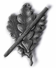 WW2 MILITARY GERMAN ARMY SKI SNIPER OAK LEAF METAL CAP BADGE SILVER