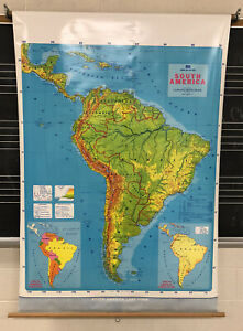 VINTAGE PULL DOWN SCHOOL SOUTH AMERICAN LAND FORM MAP 1989/90