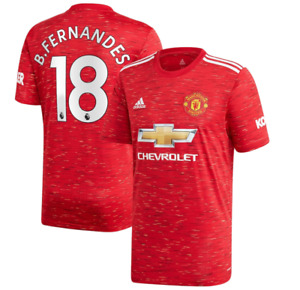 B74 Kids 9-10yrs  Manchester United Home Shirt 20-21 with B.Fernandes 18 print