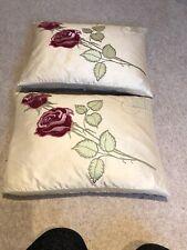 A Pair Of Laura Ashley Silk Cream Rose Pink Cushions