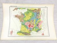 1888 Antique Map of France Geology Physical Geological FRENCH 19th Century