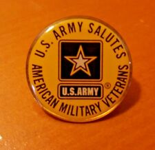 US Army Salutes American Military Veterans Metal Round Pin USA Vets