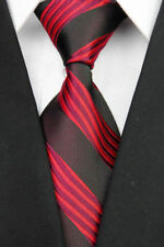 GIFTS FOR MEN Classic Mens Swirl Wave Stripe Silk Necktie Work Tie Black Red