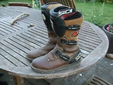"""SIDI OFF ROAD LEATHER MOTORCYCLE BOOTS size UK 9.5   14"""" high ,nicely worn in"""
