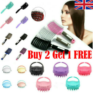 Womens Bristle & Nylon  Detangle Hairbrush Curved Hair Scalp Massage Comb Brush