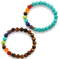 2pcs 7 Chakra Healing Balance Beaded Bracelet Natural Stone Yoga Reiki Prayer C3