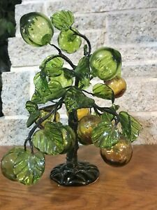 VINTAGE RETRO MID CENTURY ASIAN GREEN AMBER GLASS BONSAI TREE HAND BLOWN