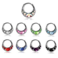 "100% Surgical Steel Septum Clicker Nose Ring Ear Cartilage CZ 5/16"" 14G 16G"