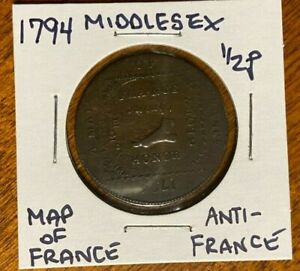 1794 Middlesex Anti-France Half Penny Condor Token
