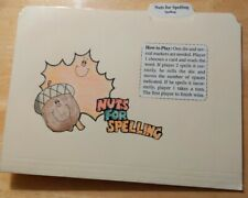 """Spelling file folder game fall words & theme laminated """"Nuts For Spelling"""" Mint"""