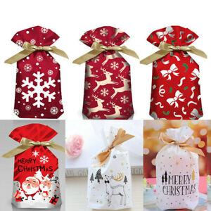 10X Christmas Sacks Reusable Drawstring Wrap Present Gift Party Bags Storage UK