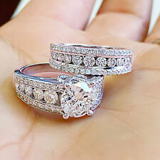 HUGE 14K SOLID WHITE GOLD ROUND CUT SIMULATED DIAMOND ENGAGEMENT RING BAND 5.00