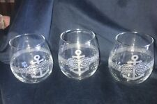 Set Of 3 TMD Holdings Nautical Etched Anchor And Rope Stemless Wine Glasses